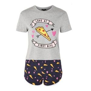 Topshop Love Pizza Short Pajamas